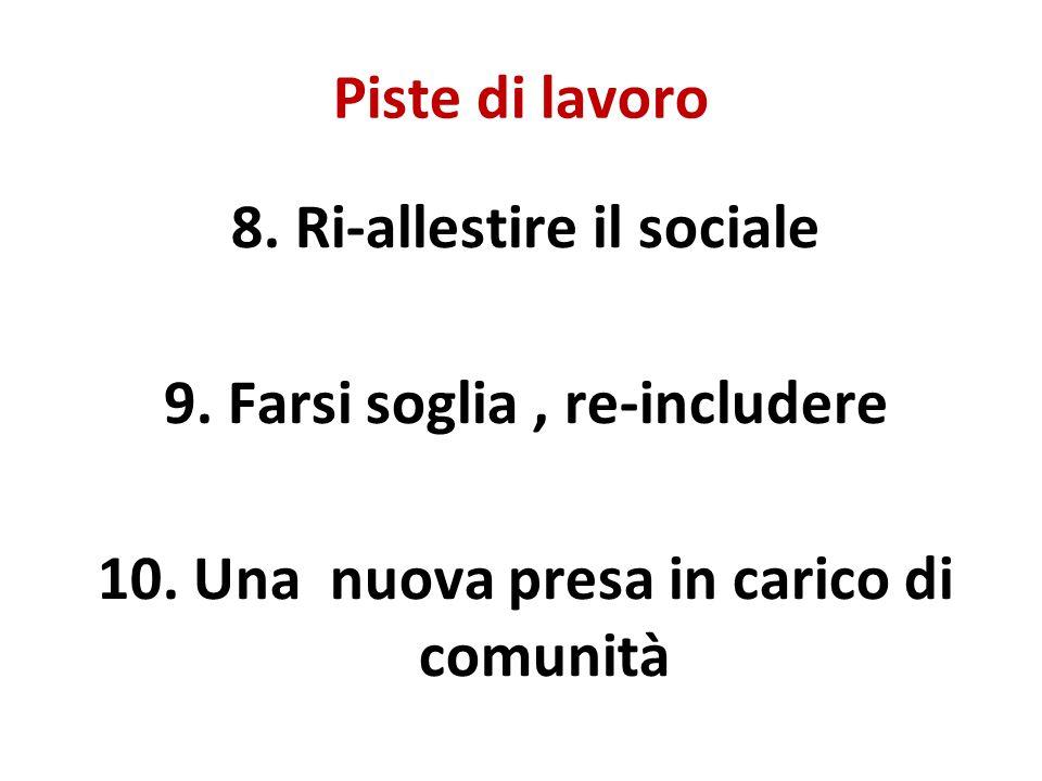 Piste di lavoro 8. Ri-allestire il sociale 9. Farsi soglia, re-includere 10.