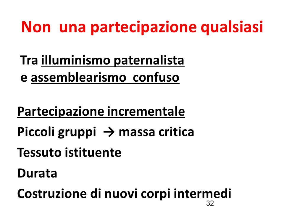 32 Non una partecipazione qualsiasi Tra illuminismo paternalista e assemblearismo confuso Partecipazione incrementale Piccoli gruppi → massa critica T