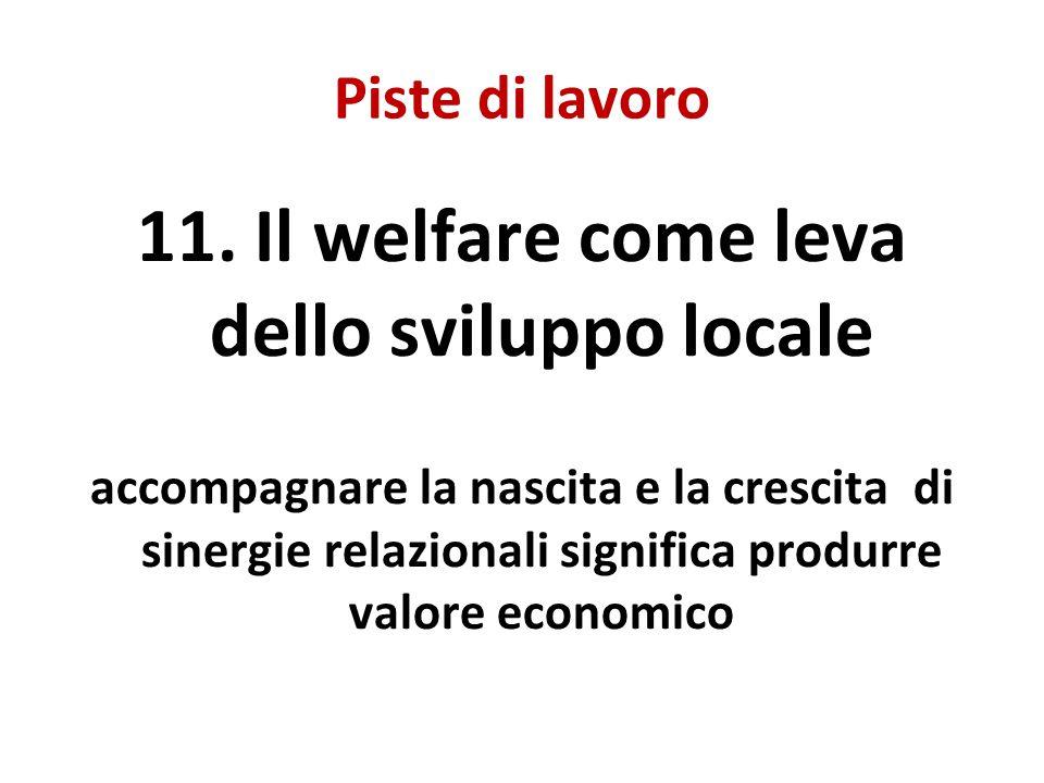 Piste di lavoro 11. Il welfare come leva dello sviluppo locale accompagnare la nascita e la crescita di sinergie relazionali significa produrre valore