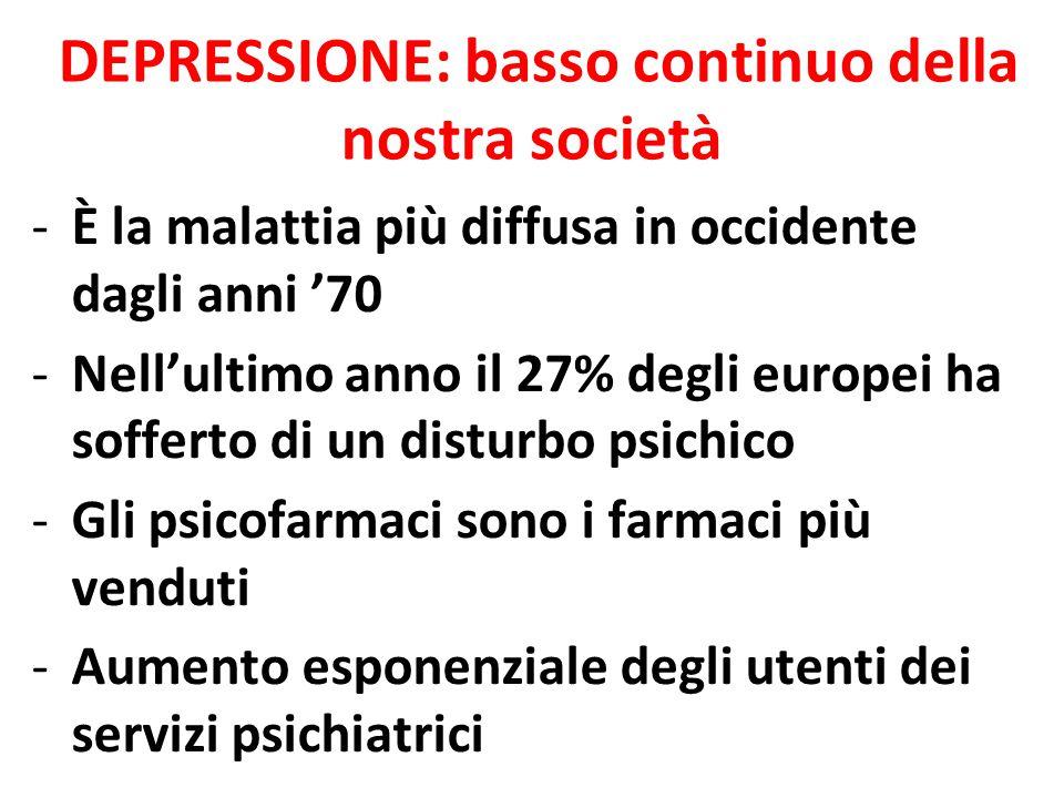DEPRESSIONE: basso continuo della nostra società -È la malattia più diffusa in occidente dagli anni '70 -Nell'ultimo anno il 27% degli europei ha sofferto di un disturbo psichico -Gli psicofarmaci sono i farmaci più venduti -Aumento esponenziale degli utenti dei servizi psichiatrici