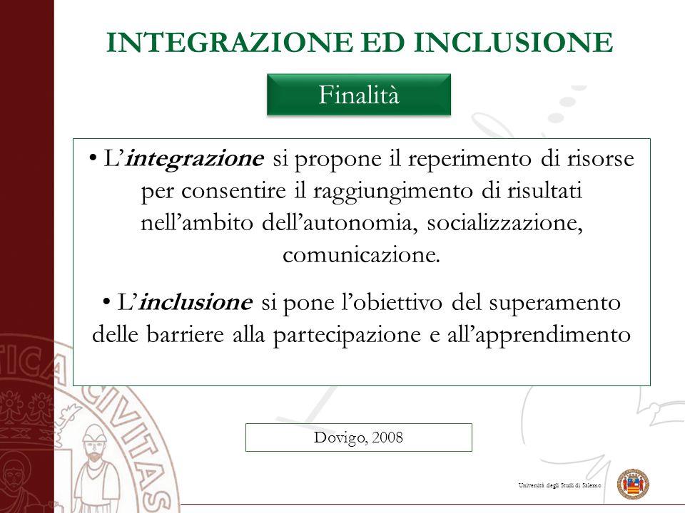 Università degli Studi di Salerno L'integrazione si propone il reperimento di risorse per consentire il raggiungimento di risultati nell'ambito dell'a