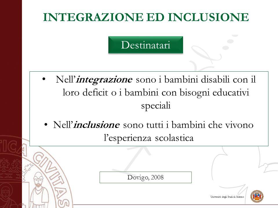 Università degli Studi di Salerno Nell'integrazione sono i bambini disabili con il loro deficit o i bambini con bisogni educativi speciali Nell'inclus