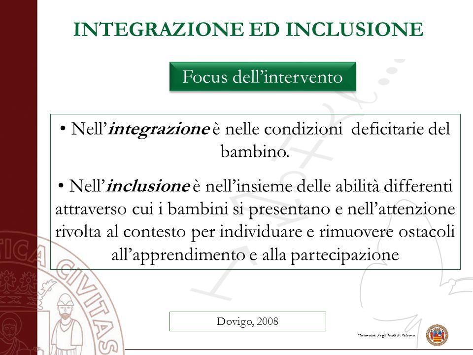 Università degli Studi di Salerno INTEGRAZIONE ED INCLUSIONE Focus dell'intervento Dovigo, 2008 Nell'integrazione è nelle condizioni deficitarie del b