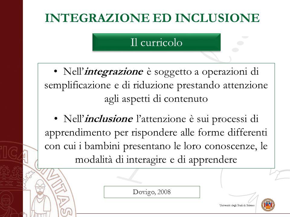 Università degli Studi di Salerno INTEGRAZIONE ED INCLUSIONE Il curricolo Dovigo, 2008 Nell'integrazione è soggetto a operazioni di semplificazione e