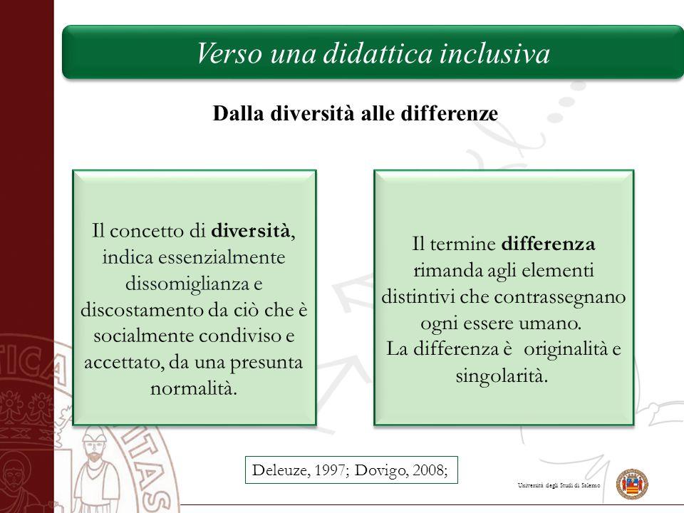 Università degli Studi di Salerno Verso una didattica inclusiva Dalla diversità alle differenze Il concetto di diversità, indica essenzialmente dissom
