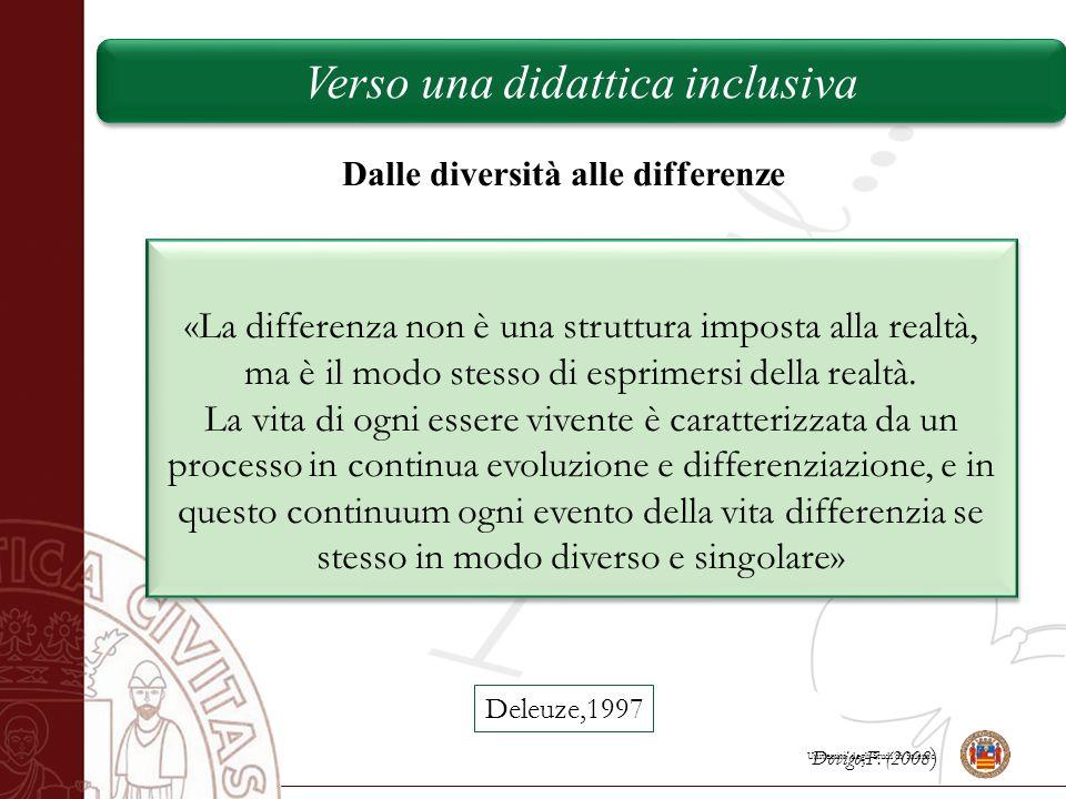 Università degli Studi di Salerno Dalle diversità alle differenze «La differenza non è una struttura imposta alla realtà, ma è il modo stesso di espri