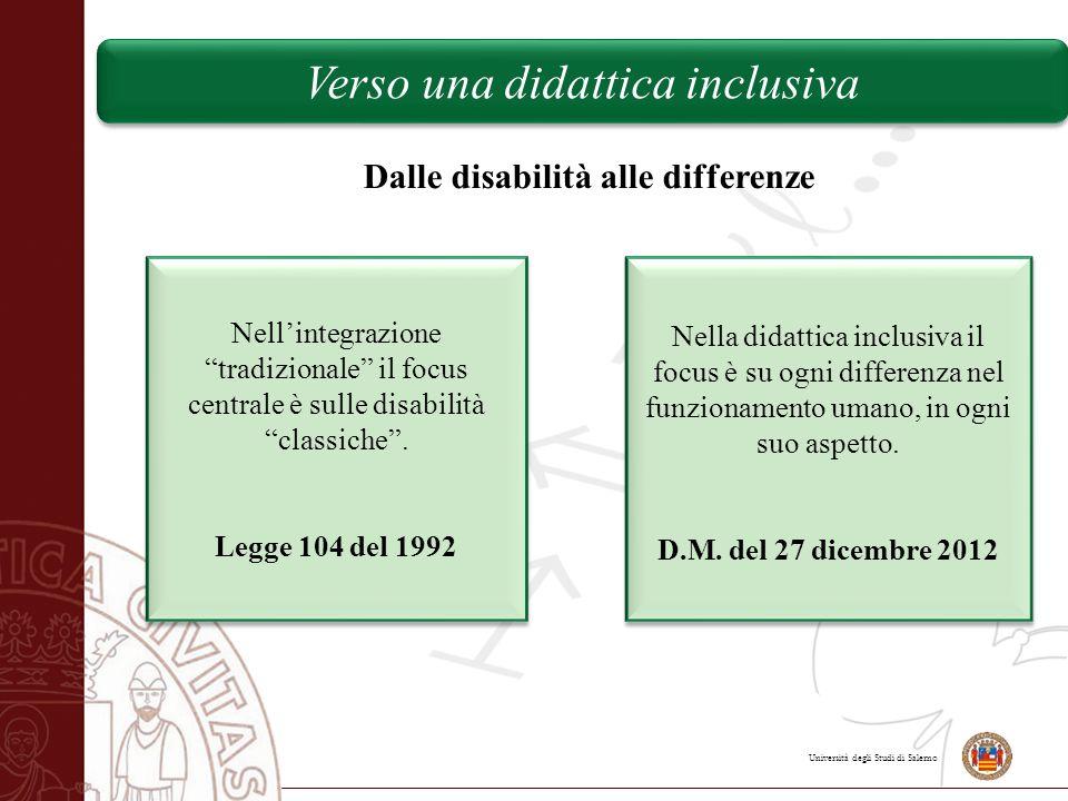 """Università degli Studi di Salerno Dalle disabilità alle differenze Nell'integrazione """"tradizionale"""" il focus centrale è sulle disabilità """"classiche""""."""
