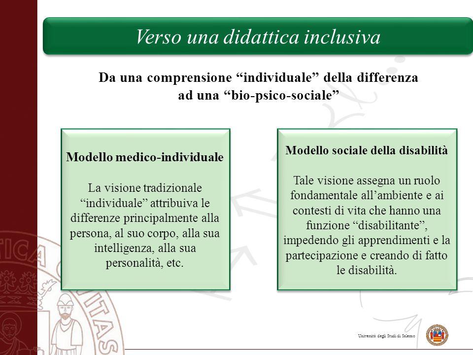 """Università degli Studi di Salerno Da una comprensione """"individuale"""" della differenza ad una """"bio-psico-sociale"""" Modello medico-individuale La visione"""