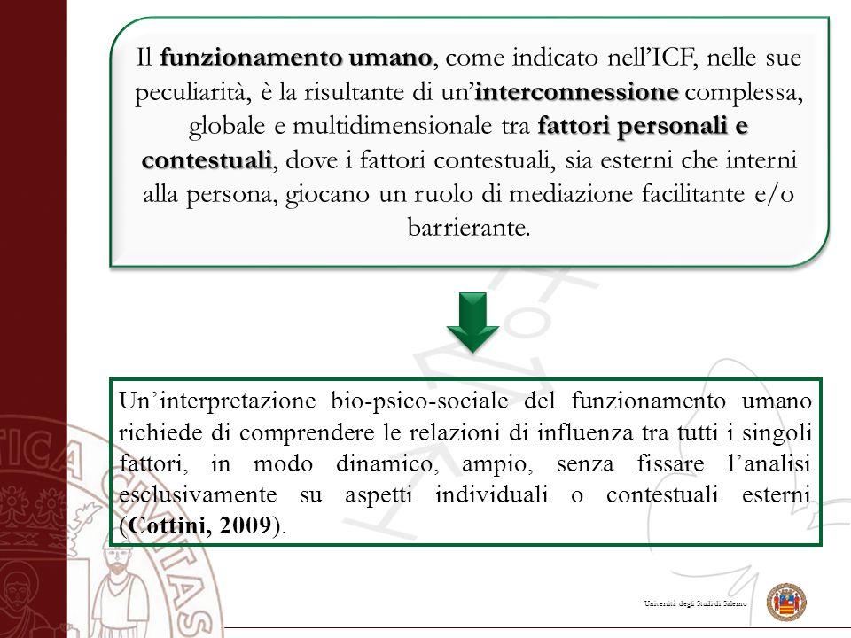 Università degli Studi di Salerno funzionamento umano interconnessione fattori personali e contestuali Il funzionamento umano, come indicato nell'ICF,