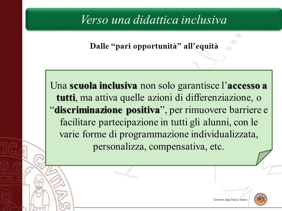 """Università degli Studi di Salerno Dalle """"pari opportunità"""" all'equità scuola inclusivaaccesso a tutti discriminazione positiva Una scuola inclusiva no"""