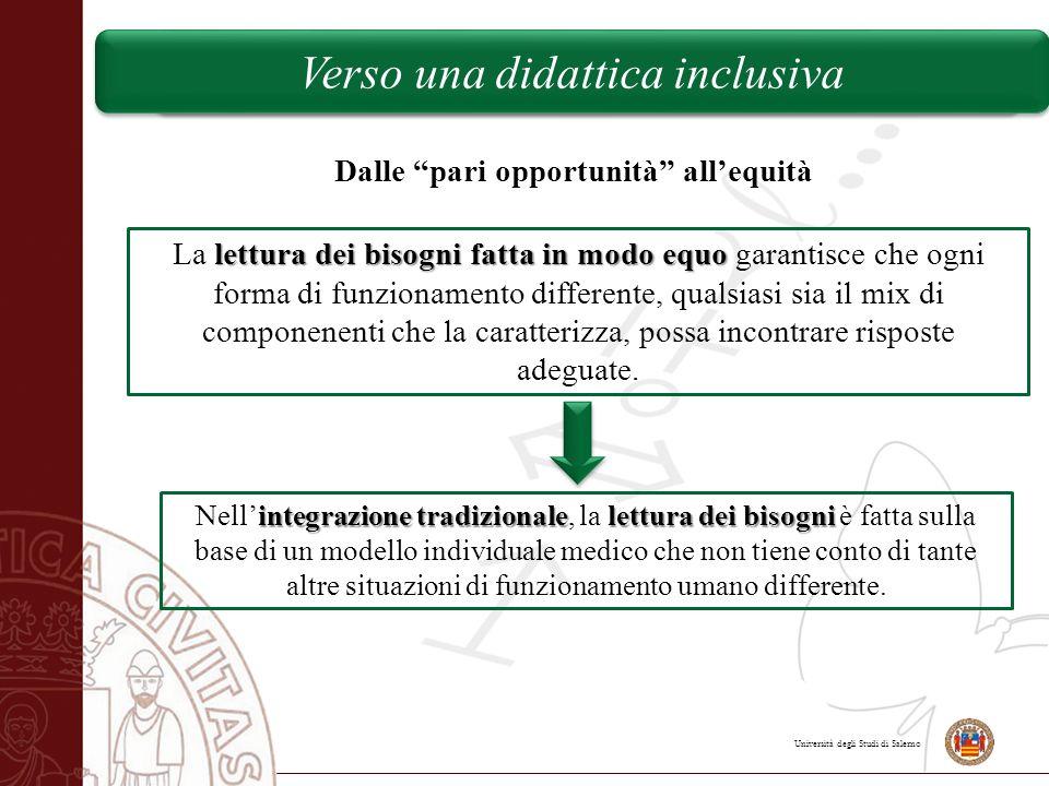 """Università degli Studi di Salerno Verso una didattica inclusiva Dalle """"pari opportunità"""" all'equità lettura dei bisognifatta in modo equo La lettura d"""