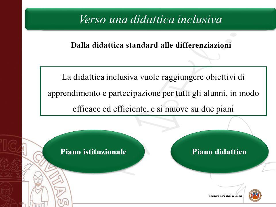 Università degli Studi di Salerno Verso una didattica inclusiva Dalla didattica standard alle differenziazioni La didattica inclusiva vuole raggiunger