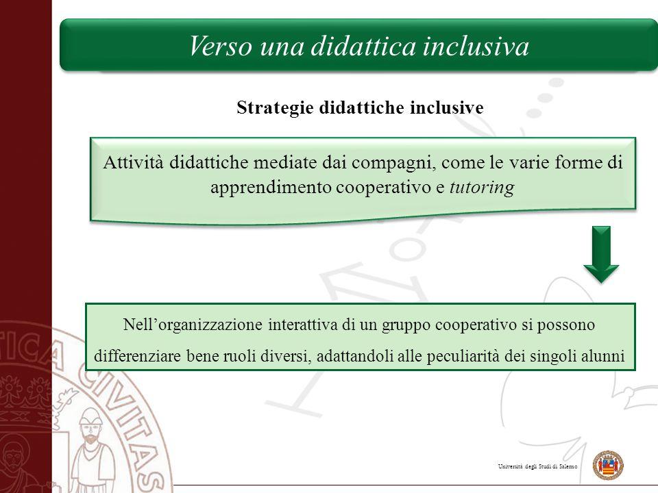 Università degli Studi di Salerno Verso una didattica inclusiva Strategie didattiche inclusive Attività didattiche mediate dai compagni, come le varie
