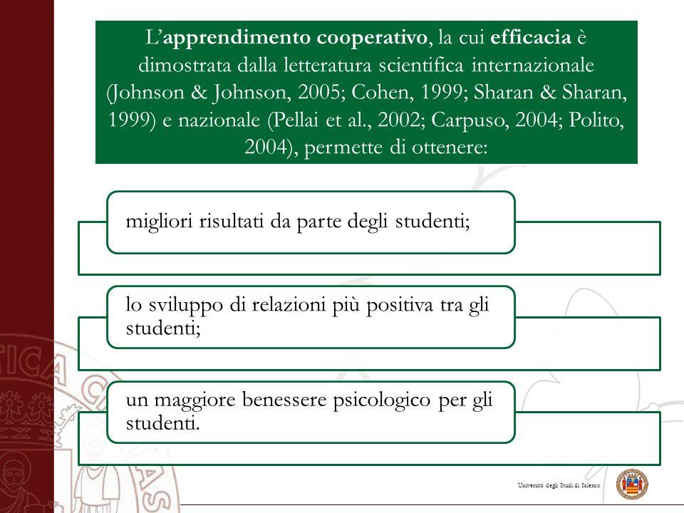 Università degli Studi di Salerno L'apprendimento cooperativo, la cui efficacia è dimostrata dalla letteratura scientifica internazionale (Johnson & J