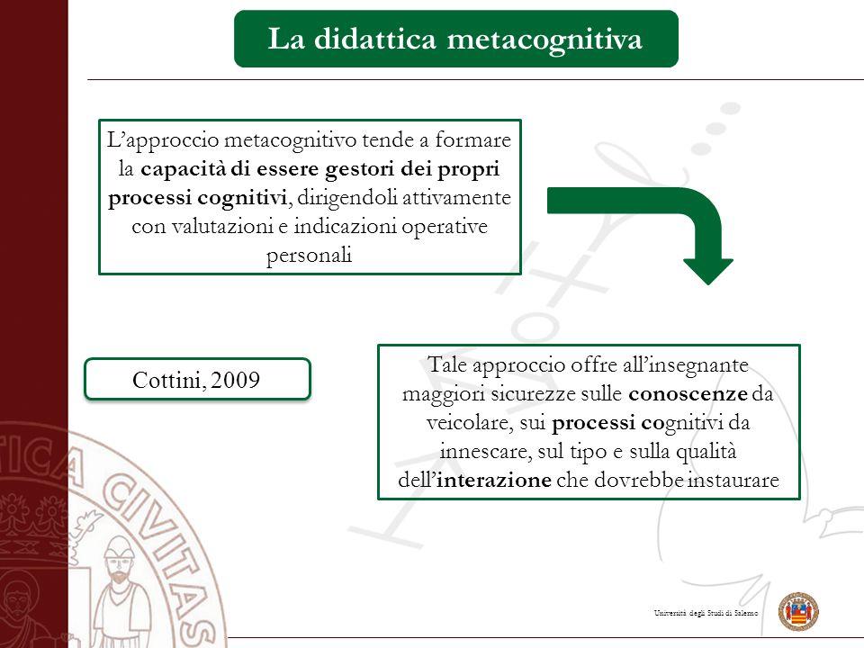 Università degli Studi di Salerno La didattica metacognitiva L'approccio metacognitivo tende a formare la capacità di essere gestori dei propri proces