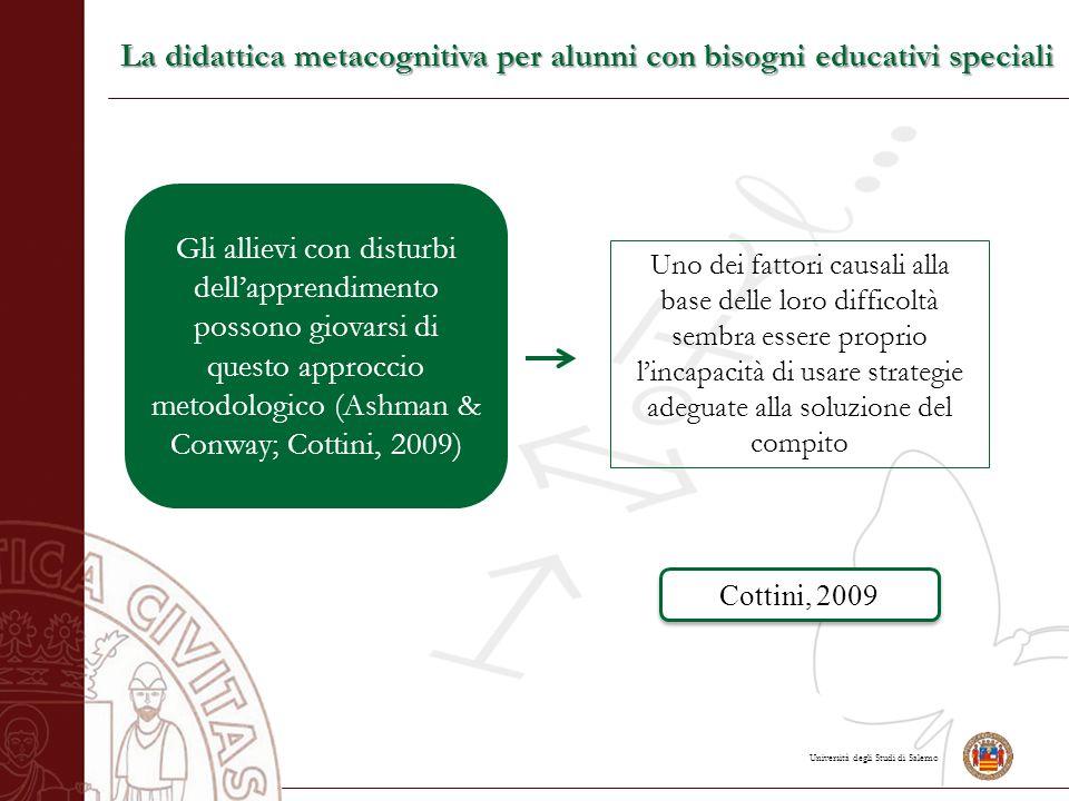 Università degli Studi di Salerno La didattica metacognitiva per alunni con bisogni educativi speciali Gli allievi con disturbi dell'apprendimento pos