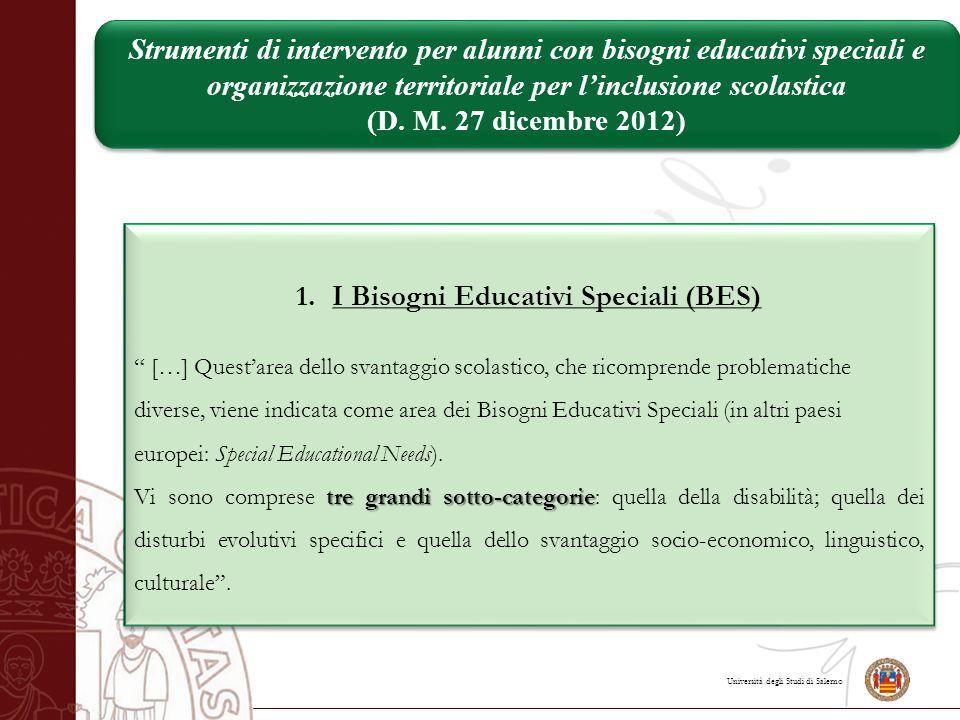 """Università degli Studi di Salerno 1.I Bisogni Educativi Speciali (BES) """" […] Quest'area dello svantaggio scolastico, che ricomprende problematiche div"""