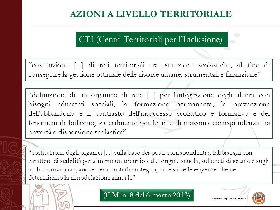 """Università degli Studi di Salerno AZIONI A LIVELLO TERRITORIALE CTI (Centri Territoriali per l'Inclusione) """"costituzione [...] di reti territoriali tr"""