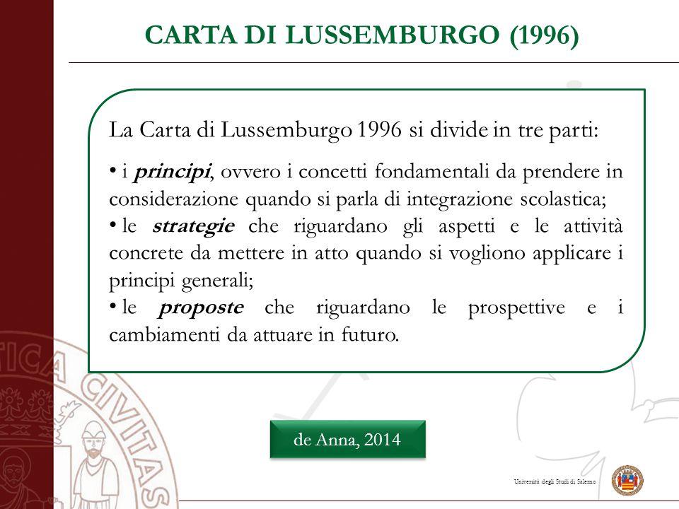 Università degli Studi di Salerno CARTA DI LUSSEMBURGO (1996) de Anna, 2014 La Carta di Lussemburgo 1996 si divide in tre parti: i principi, ovvero i