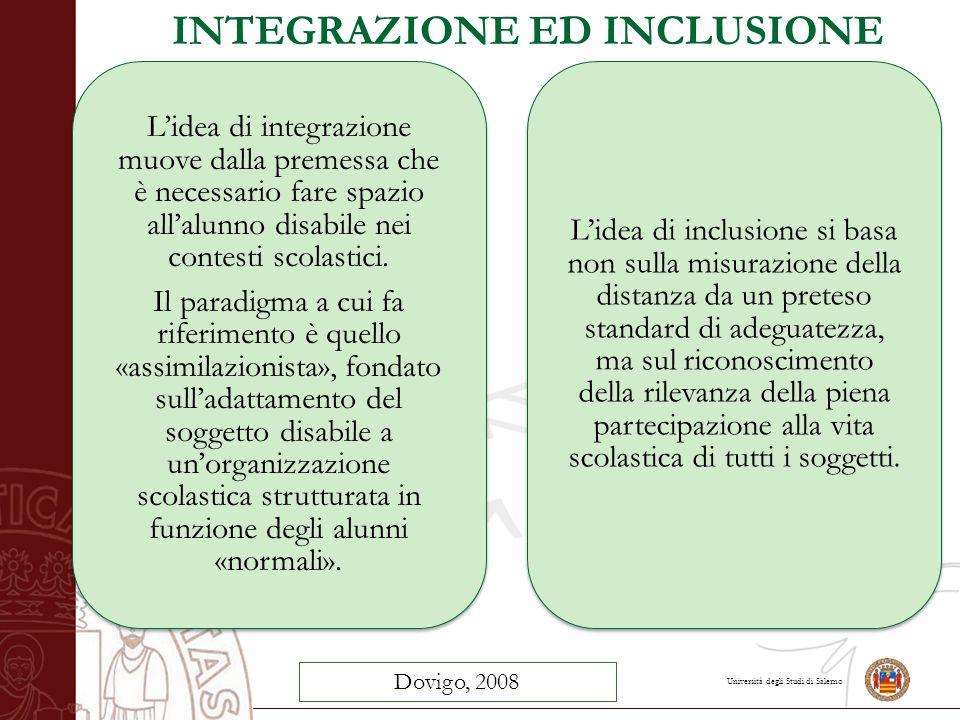 INTEGRAZIONE ED INCLUSIONE L'idea di integrazione muove dalla premessa che è necessario fare spazio all'alunno disabile nei contesti scolastici. Il pa