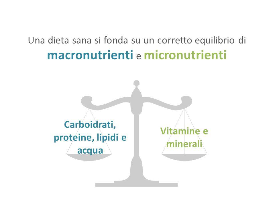 Una dieta sana si fonda su un corretto equilibrio di macronutrienti e micronutrienti Carboidrati, proteine, lipidi e acqua Vitamine e minerali
