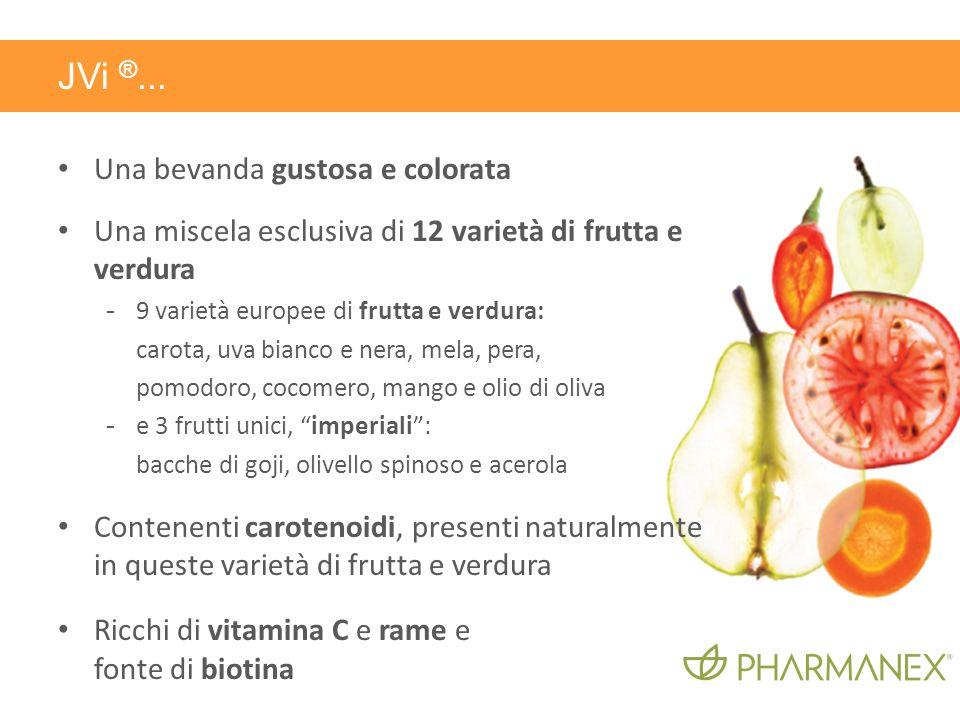 Una bevanda gustosa e colorata Una miscela esclusiva di 12 varietà di frutta e verdura - 9 varietà europee di frutta e verdura: carota, uva bianco e n