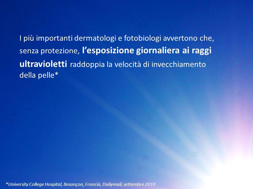 I più importanti dermatologi e fotobiologi avvertono che, senza protezione, l'esposizione giornaliera ai raggi ultravioletti raddoppia la velocità di