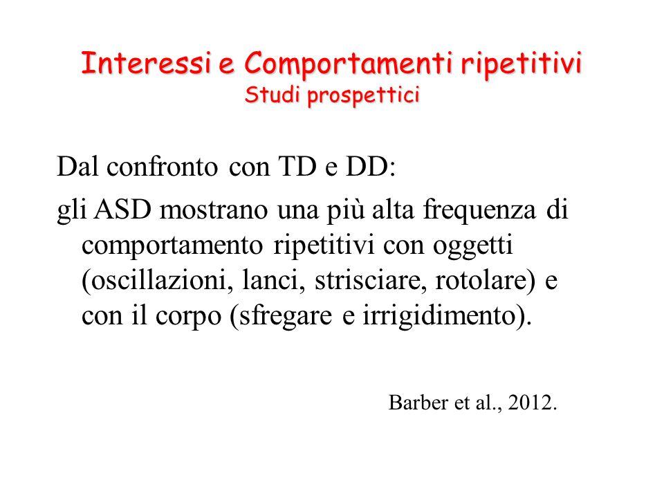Dal confronto con TD e DD: gli ASD mostrano una più alta frequenza di comportamento ripetitivi con oggetti (oscillazioni, lanci, strisciare, rotolare)