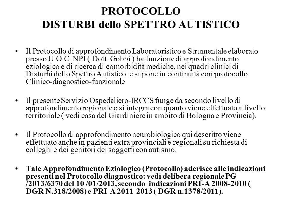 PROTOCOLLO DISTURBI dello SPETTRO AUTISTICO Il Protocollo di approfondimento Laboratoristico e Strumentale elaborato presso U.O.C. NPI ( Dott. Gobbi )