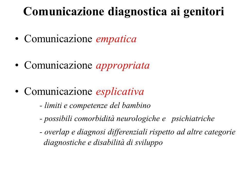 Comunicazione diagnostica ai genitori Comunicazione empatica Comunicazione appropriata Comunicazione esplicativa - limiti e competenze del bambino - p