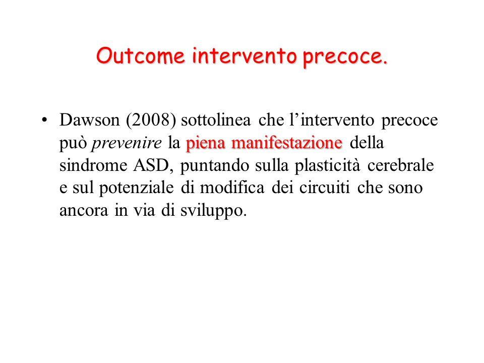 piena manifestazioneDawson (2008) sottolinea che l'intervento precoce può prevenire la piena manifestazione della sindrome ASD, puntando sulla plasticità cerebrale e sul potenziale di modifica dei circuiti che sono ancora in via di sviluppo.