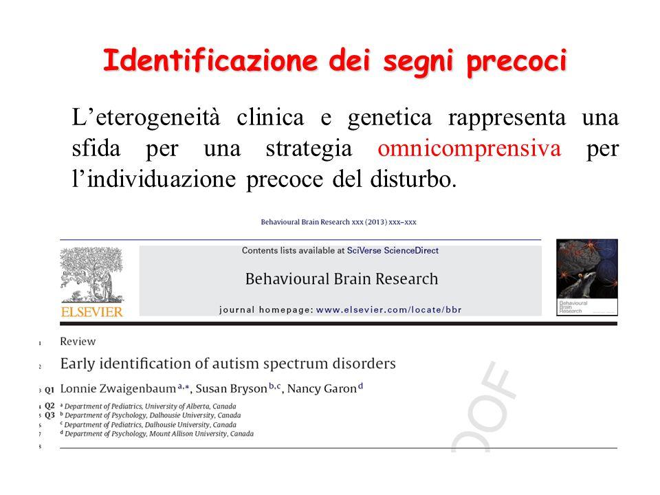 Identificazione dei segni precoci L'eterogeneità clinica e genetica rappresenta una sfida per una strategia omnicomprensiva per l'individuazione preco