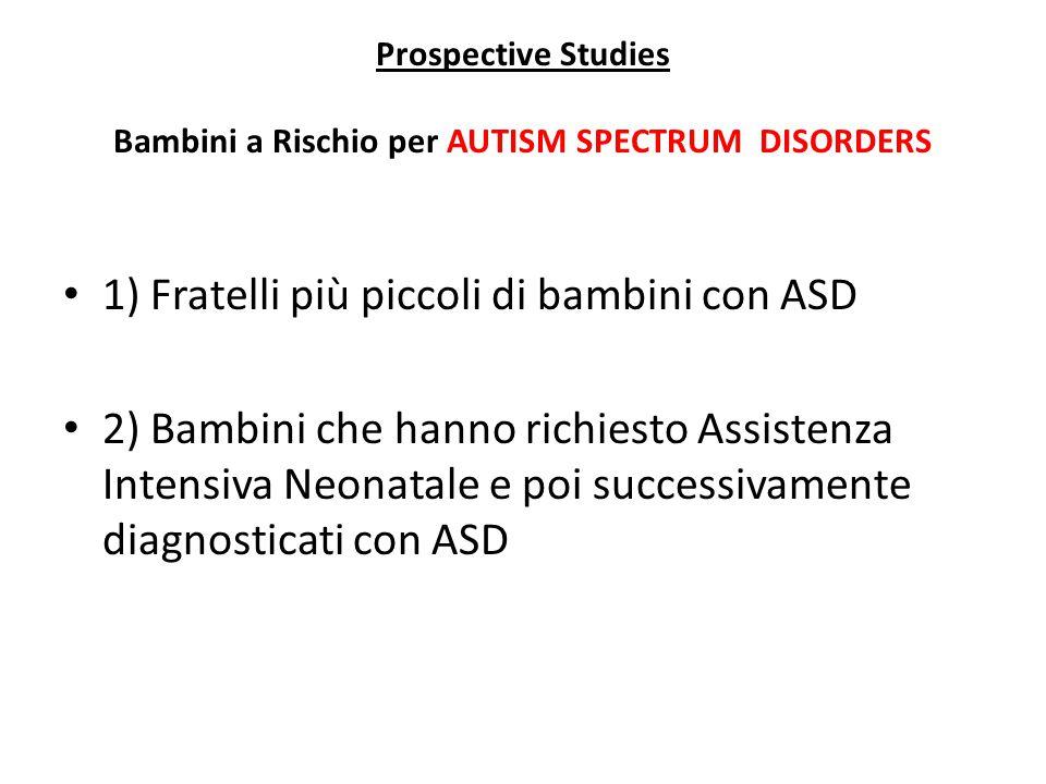Prospective Studies Bambini a Rischio per AUTISM SPECTRUM DISORDERS 1) Fratelli più piccoli di bambini con ASD 2) Bambini che hanno richiesto Assisten