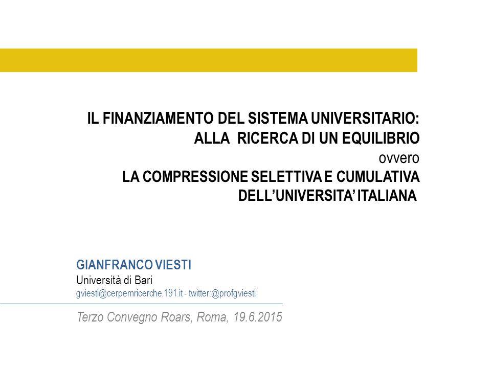 I soldi non sono tutto e la qualità della spesa è importantissima, ma i dati (2008-15) sul finanziamento consentono di ricostruire e documentare una grande scelta politica: la compressione selettiva e cumulativa dell'universita' italiana