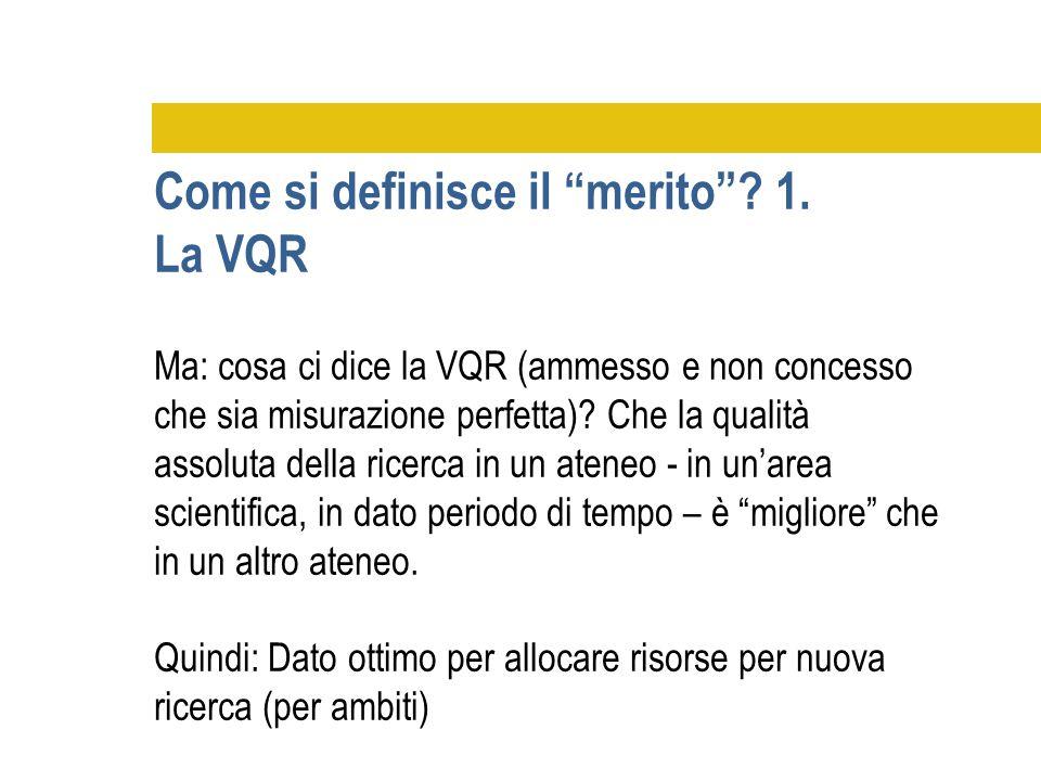 Ma: cosa ci dice la VQR (ammesso e non concesso che sia misurazione perfetta)? Che la qualità assoluta della ricerca in un ateneo - in un'area scienti