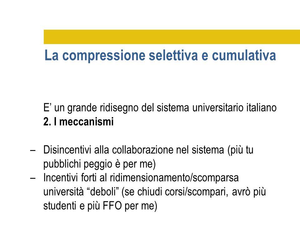 E' un grande ridisegno del sistema universitario italiano 2. I meccanismi –Disincentivi alla collaborazione nel sistema (più tu pubblichi peggio è per