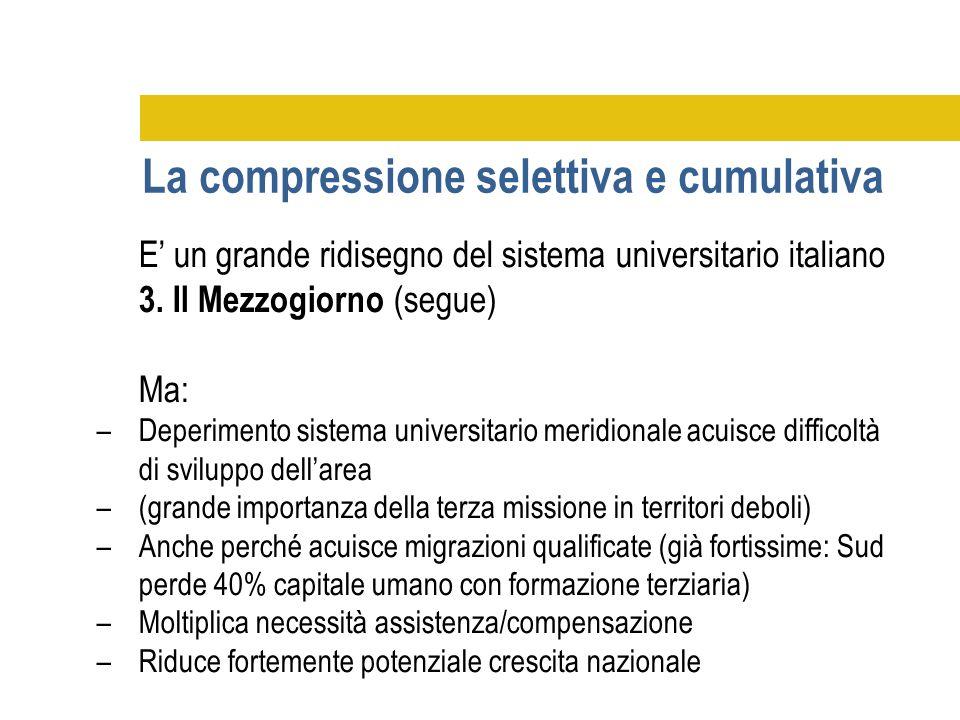 E' un grande ridisegno del sistema universitario italiano 3. Il Mezzogiorno (segue) Ma: –Deperimento sistema universitario meridionale acuisce diffico