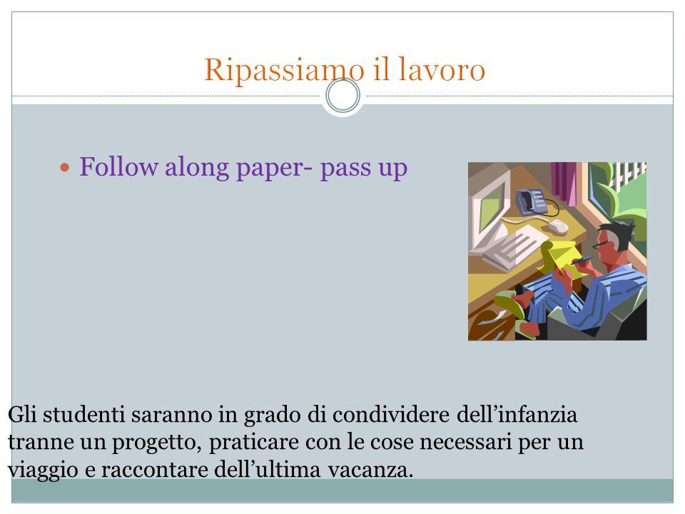 Follow along paper- pass up Gli studenti saranno in grado di condividere dell'infanzia tranne un progetto, praticare con le cose necessari per un viag