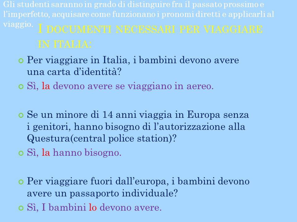 I DOCUMENTI NECESSARI PER VIAGGIARE IN ITALIA : Per viaggiare in Italia, i bambini devono avere una carta d'identità? Sì, la devono avere se viaggiano