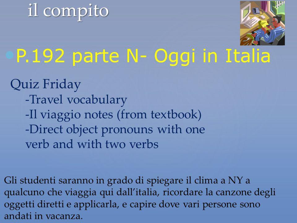 il compito P.192 parte N- Oggi in Italia Gli studenti saranno in grado di spiegare il clima a NY a qualcuno che viaggia qui dall'italia, ricordare la
