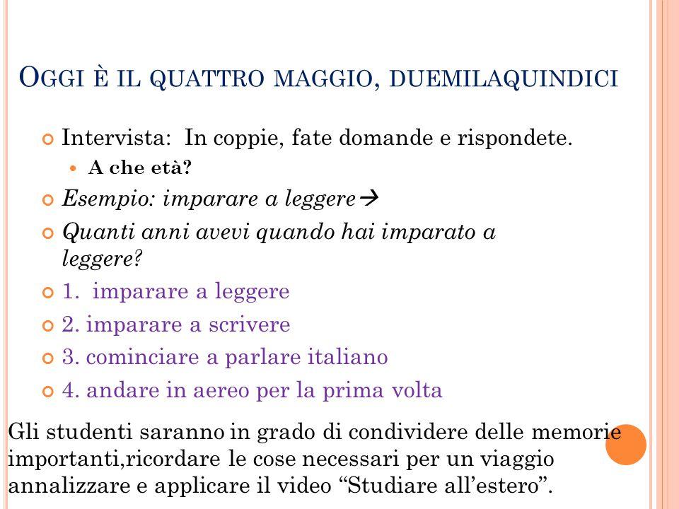 R IPASSIAMO IL COMPITO Read P.