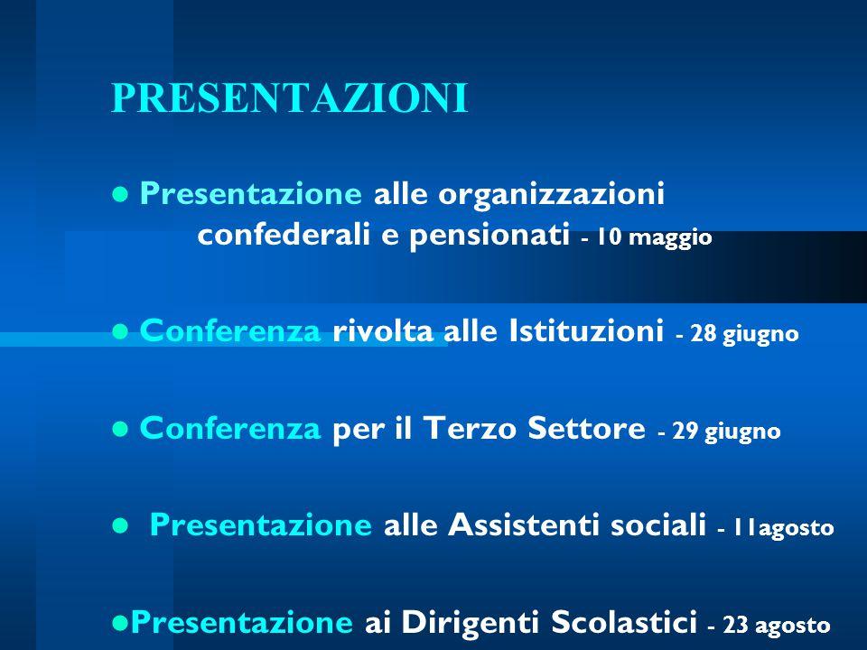 PRESENTAZIONI Presentazione alle organizzazioni confederali e pensionati - 10 maggio Conferenza rivolta alle Istituzioni - 28 giugno Conferenza per il