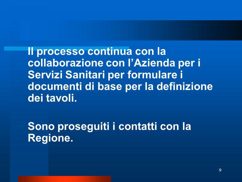 9 Il processo continua con la collaborazione con l'Azienda per i Servizi Sanitari per formulare i documenti di base per la definizione dei tavoli. Son
