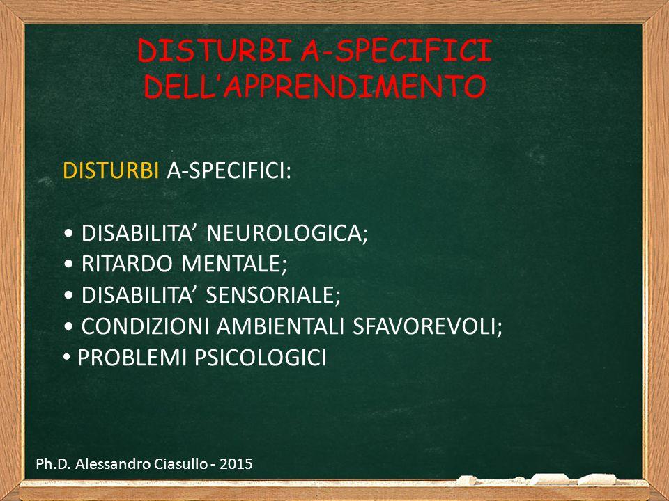 DISTURBI A-SPECIFICI DELL'APPRENDIMENTO DISTURBI A-SPECIFICI: DISABILITA' NEUROLOGICA; RITARDO MENTALE; DISABILITA' SENSORIALE; CONDIZIONI AMBIENTALI