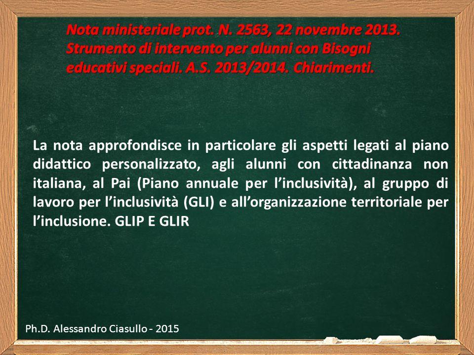 La nota approfondisce in particolare gli aspetti legati al piano didattico personalizzato, agli alunni con cittadinanza non italiana, al Pai (Piano an
