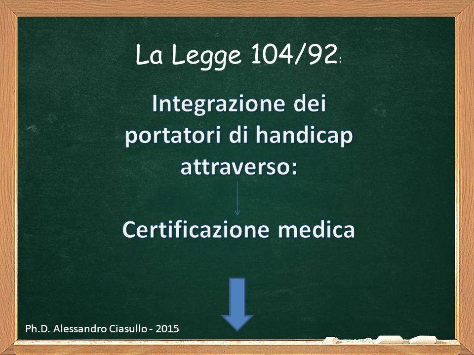 La Legge 104/92 : Ph.D. Alessandro Ciasullo - 2015