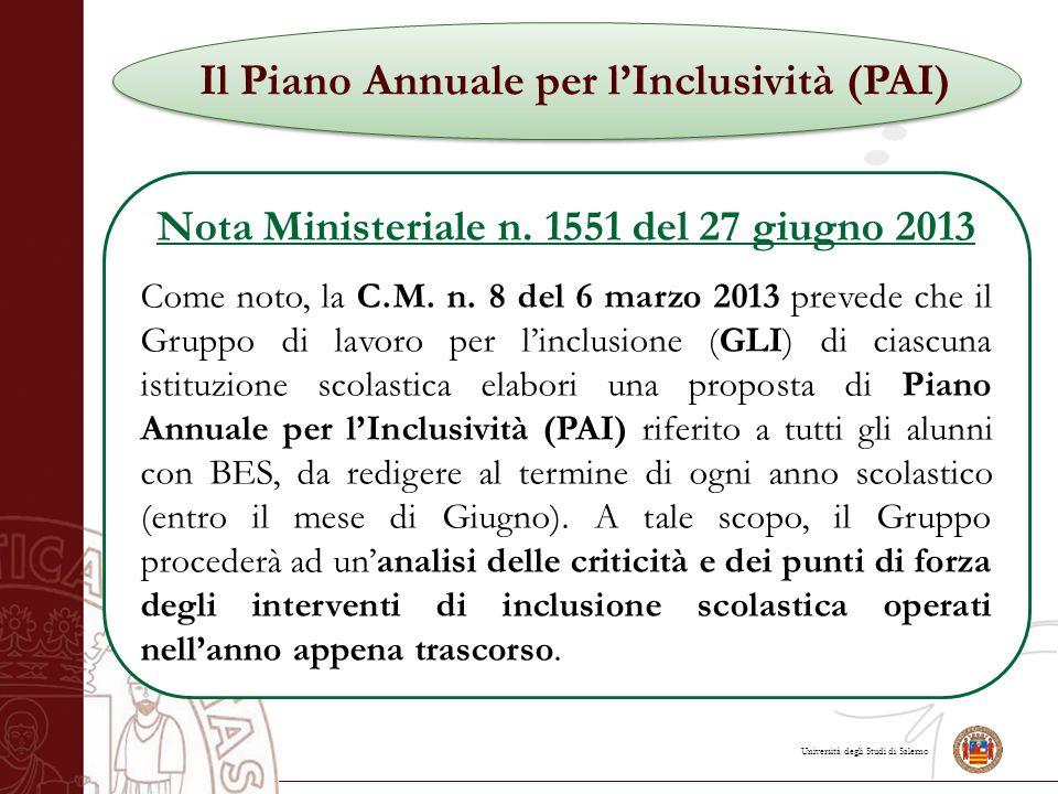 Università degli Studi di Salerno Il Piano Annuale per l'Inclusività (PAI) Nota Ministeriale n.