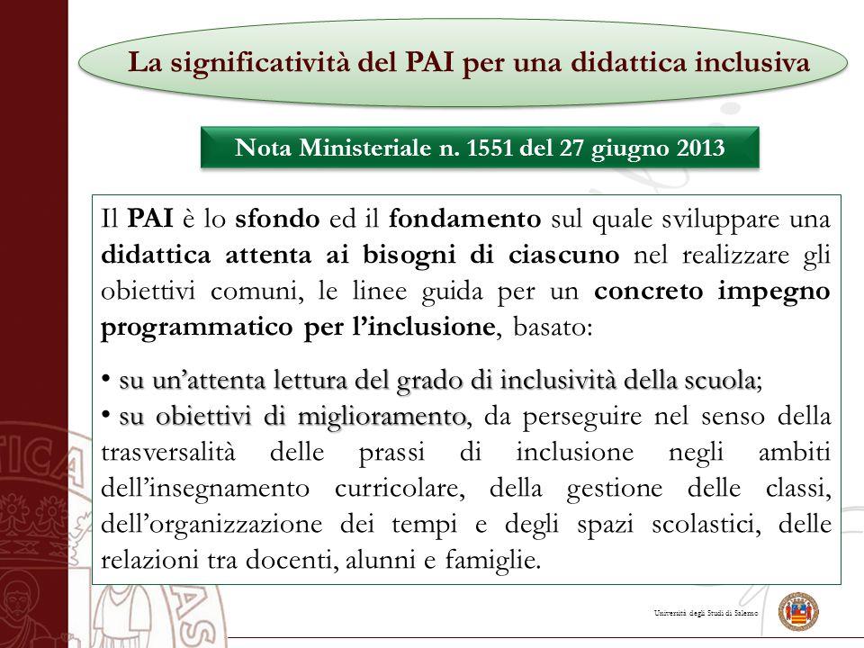 Università degli Studi di Salerno La significatività del PAI per una didattica inclusiva Nota Ministeriale n.