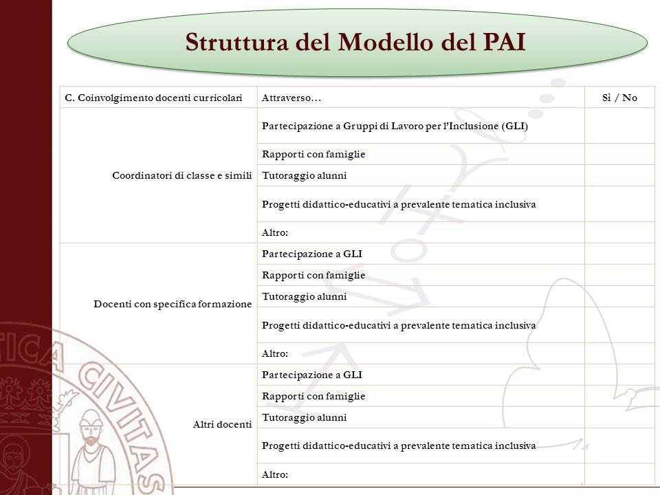 Università degli Studi di Salerno Struttura del Modello del PAI C.