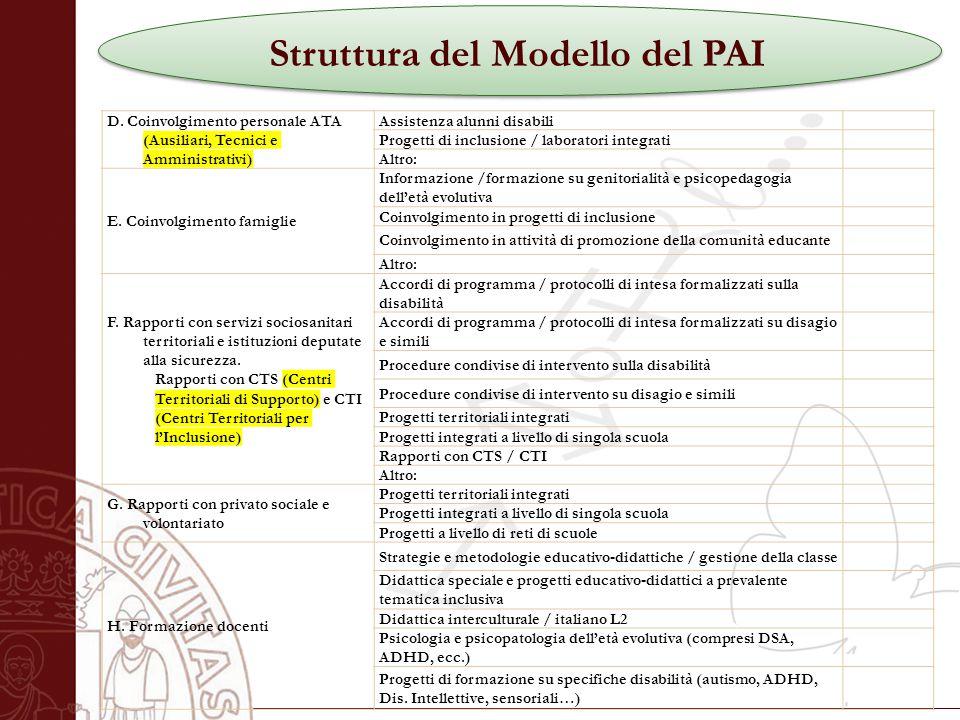 Università degli Studi di Salerno Struttura del Modello del PAI D.